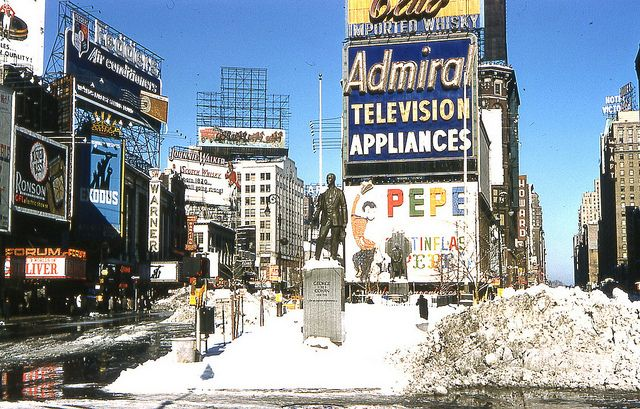 nyc, 1961. snow in times square.
