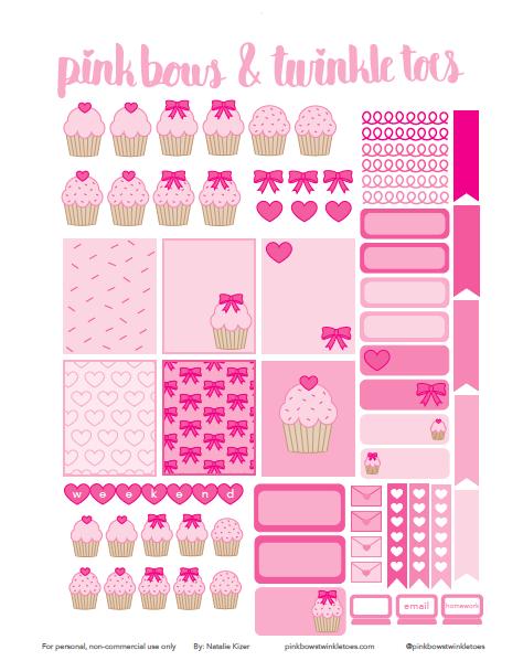 Pink Cupcake Cutie Planner Stickers: Free Printable   Homeschool ...