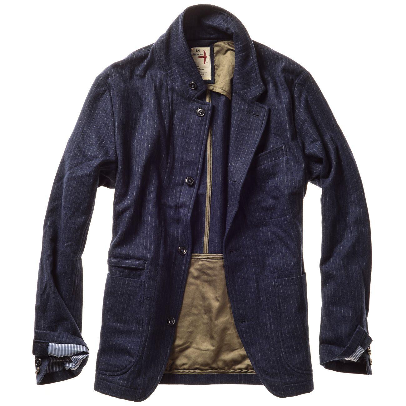 7f23262c1 Navy Wool Beadstripe Trap Blazer by RELWEN | BEST LOOKS FOR FALL ...