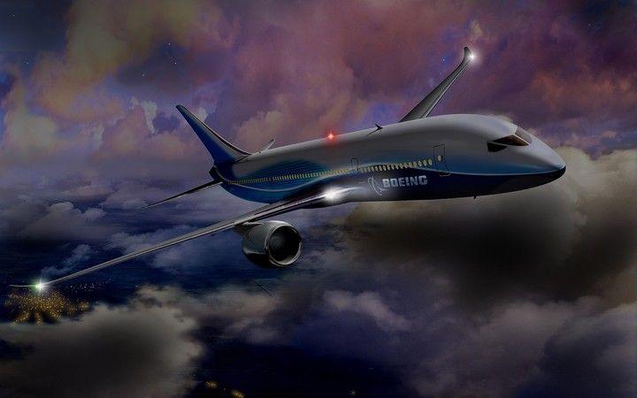 Aircraft Night Flight Sky Clouds City Lights Boeing Aircraft Night Background