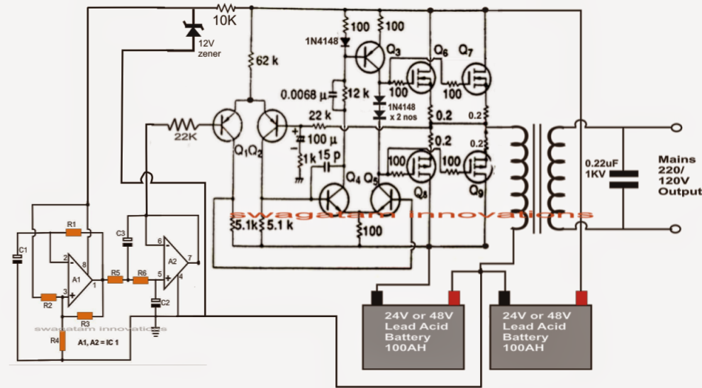 Great inverter 12 volt wiring diagram contemporary electrical the post describes a neat 1000watt or 1kva pure sine wave inverter asfbconference2016 Images