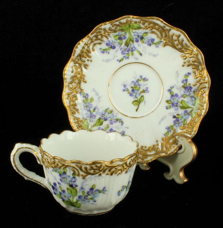 Antique french porcelain cabinet cup saucer boudois & achille bloch paris 1885
