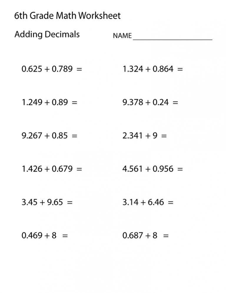 6th Grade Math Worksheets 2018