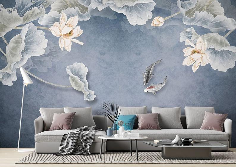 Japanese Koi Floral Dutch Flowers Black Wallpaper Mural Self Adhesive Peel And Stick 3d Wall Mural Designer Australian Company Wall Decor In 2020 Mural Wallpaper Black Wallpaper Removable Wall Murals