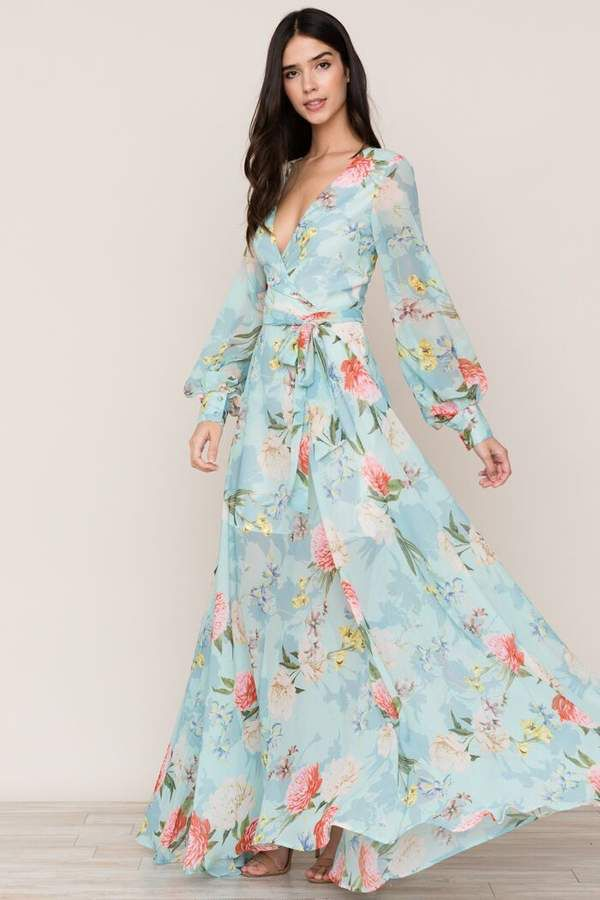 Giselle Maxi Dress Light Blue with Flowers / Perfect Wedding Guest ...