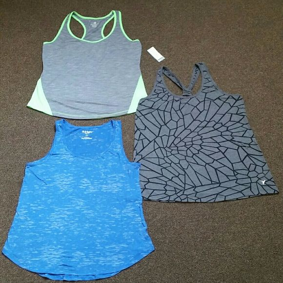 """Active tanks 3 work out tanks, 2 never worn. Blue tank is """"burnhole""""style where you can see through it, Gray tank  never worn, scrunch back, and Lime green/gray...never worn has """"stay dry"""" fabric for that extra sweaty work out. All fit true to size. Old Navy Tops"""