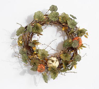 Lit Natural Pumpkin Wreath Amp Garland Potterybarn Pumpkin Wreath Lighted Wreaths Holiday Event Decor