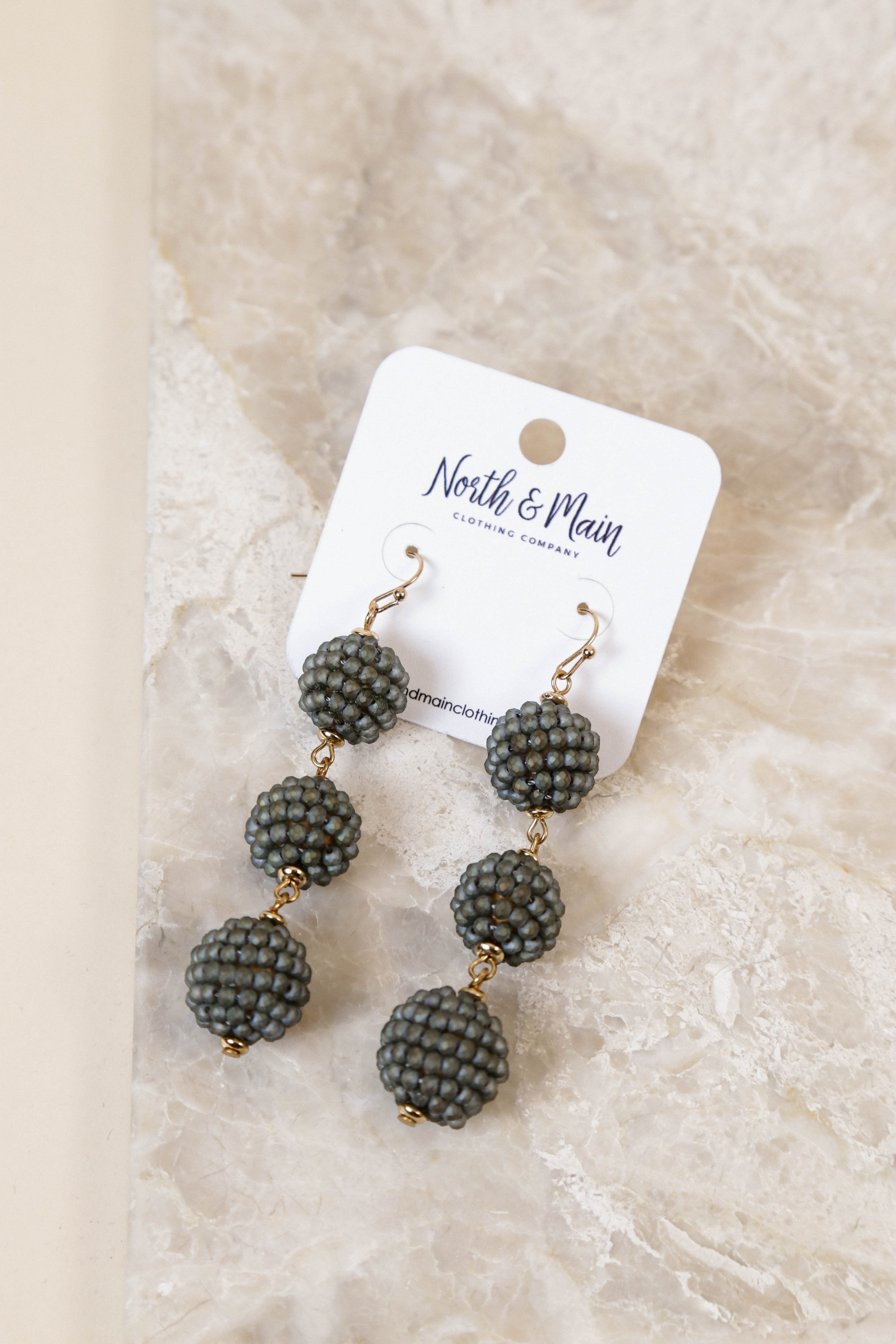 Three Tier Beaded Earring, Grey