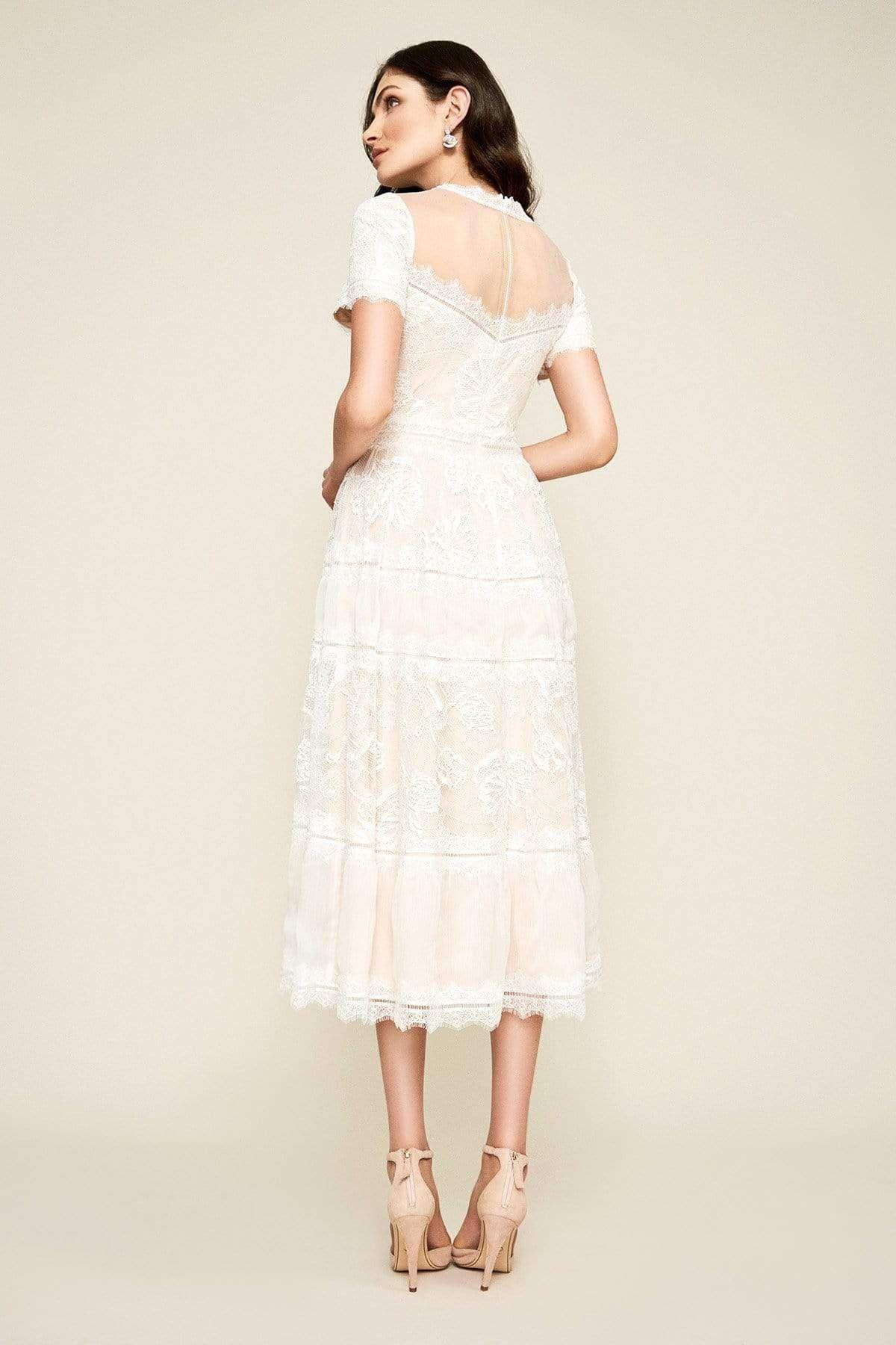 Tadashi Shoji Illusion Neckline Sheer Lace Tea Length Dress In 2021 Tea Length Wedding Dress Lace Tea Length Dress Tea Length Dresses [ 1800 x 1200 Pixel ]