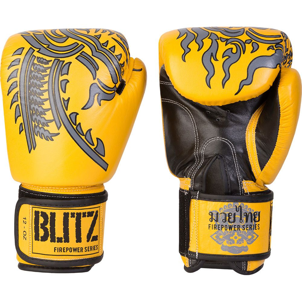 Firepower Muay Thai Leather Boxing Gloves