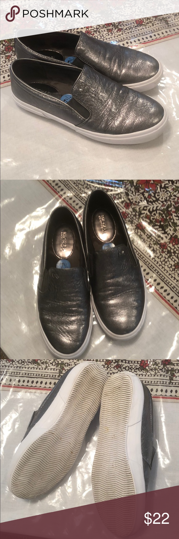 Michael Kors Pewter Leather Chucks in
