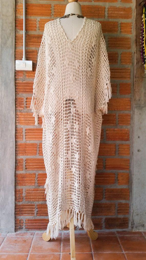 Boho Beige Long Crochet W/ Fringe Maxi Dress. 100 от SpellMaya ...