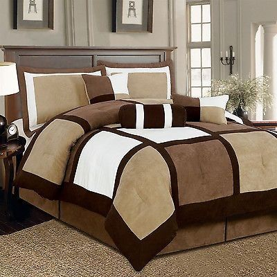 King style size 7-Piece Bed in a Bag Patchwork Comforter set in Brown White
