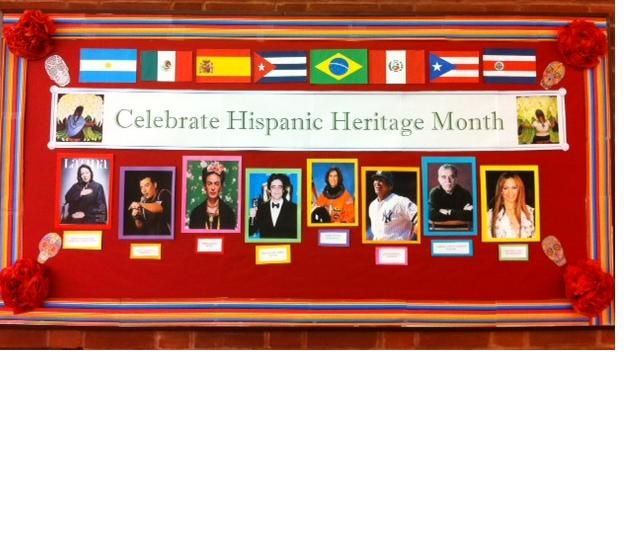 "@ Jill. Library display board for ""Hispanic Heritage Month""~September 15-October…"