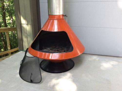 Retro Mid Century Orange Majestic Aztec Freestanding Cone