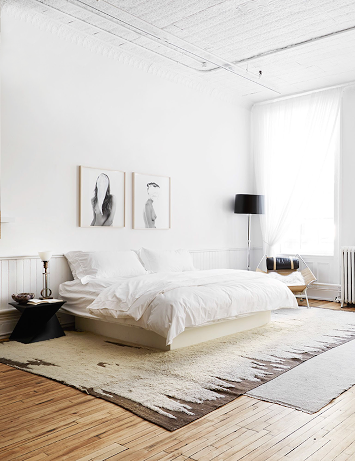 Neutral Bedroom White Walls And Wood Flooring Home Bedroom Interior Interior