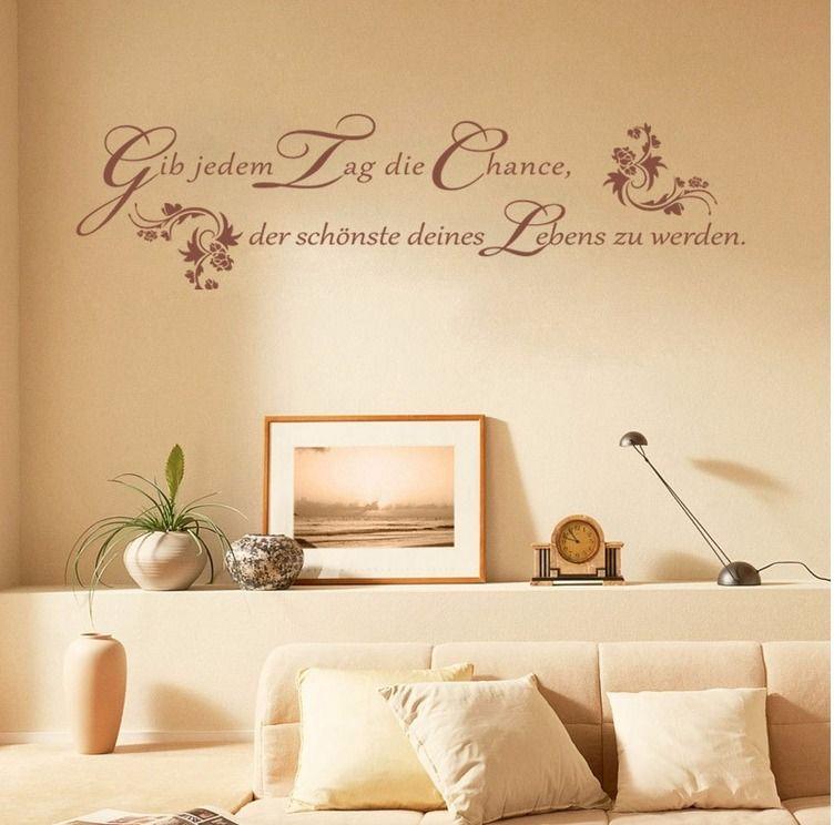 Wandtattoo Wohnzimmer Schlafzimmer Küche Flur Spruch Tag Leben braun