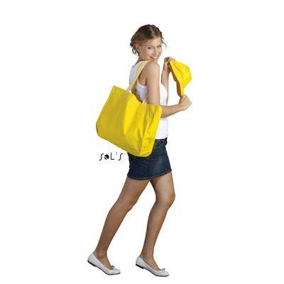 Sac De Plage - Tarifs sur devis (contact@objetpubenligne.com) -   TO932780  Bagagerie Mixte Rimini  - POLYESTER 600 D - 320g  - Tailles disponibles : 41 x 34 x 15 cm  - Fuchsia/Blanc, Rouge/Blanc, Orange/Blanc, Jaune/Blanc, Bleu Ciel/Blanc, Blanc/Marine
