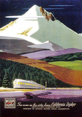 California Zephyr vintage train travel poster repro 17x24