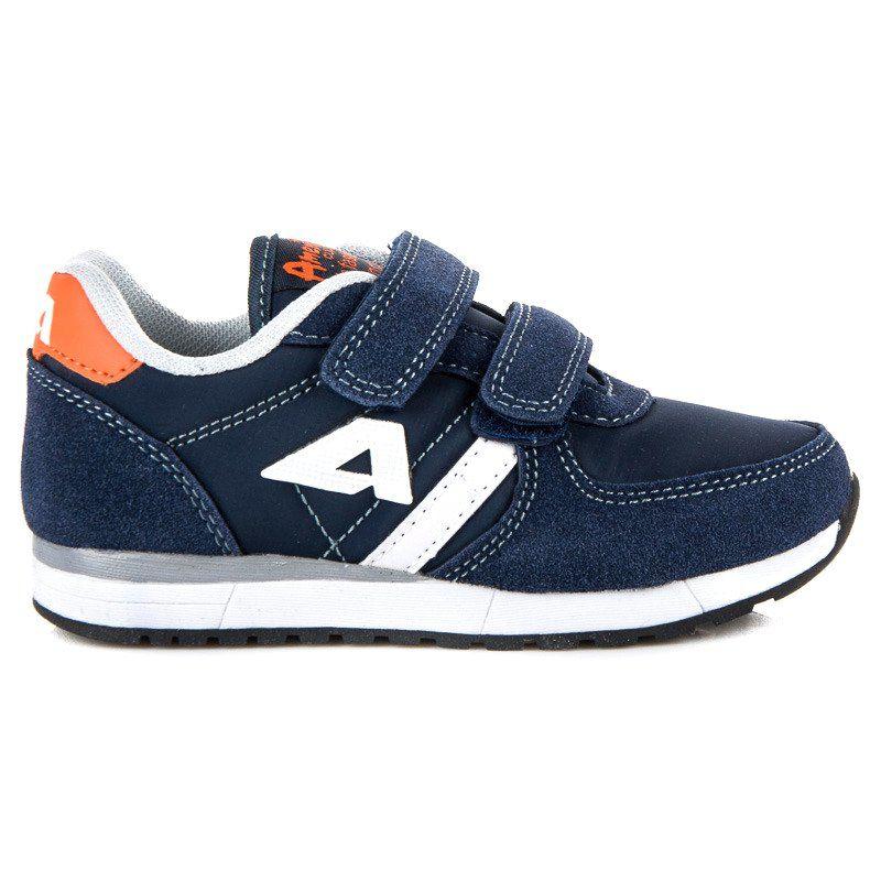 Buty Sportowe Dzieciece Dla Dzieci Americanclub Niebieskie Zamszowe Trampki Na Rzep American American Club Sneakers Shoes New Balance Sneaker