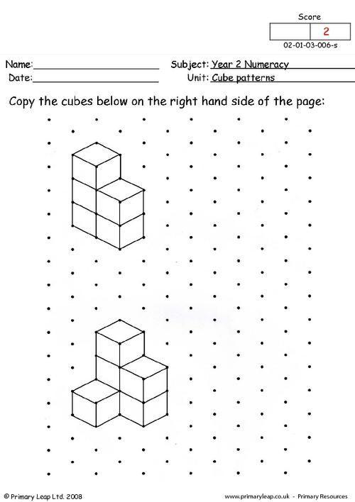 Primaryleap Co Uk Cube Patterns 2 Worksheet Cube Pattern Pattern Worksheet Kindergarten Worksheets Printable