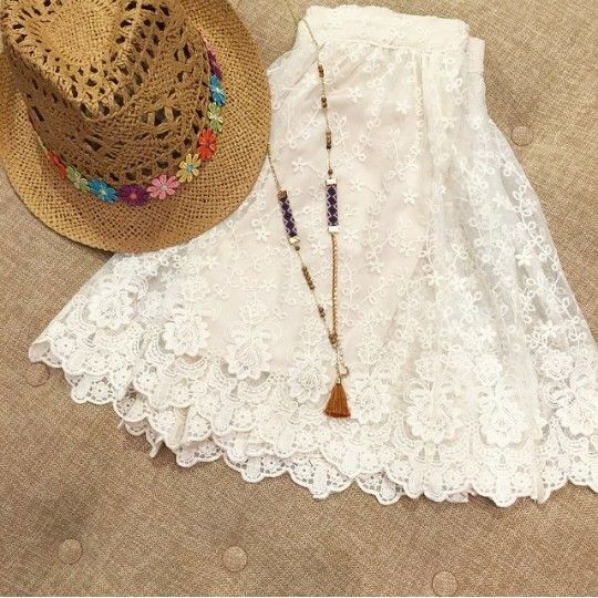 country lace dress hat flowers tassel necklace  https://instagram.com/p/4SEgwBScZG/