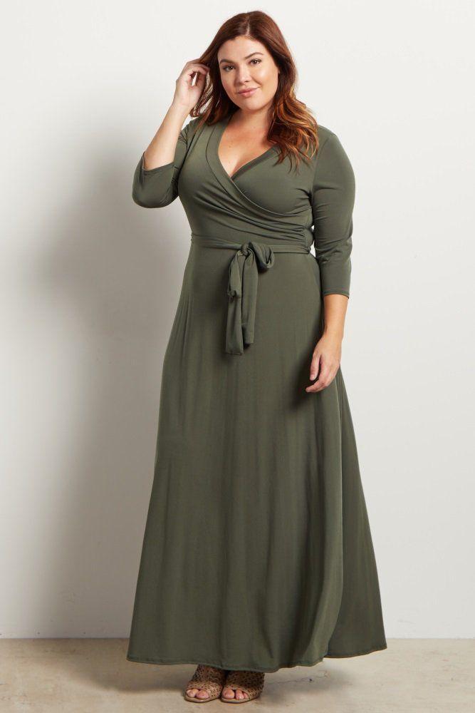 27381e998ff Olive Green Draped 3 4 Sleeve Plus Size Maxi Dress