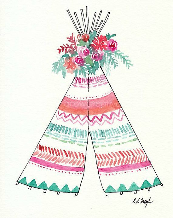 Boho Teepee Art Original Watercolor Painting by GrowCreativeShop