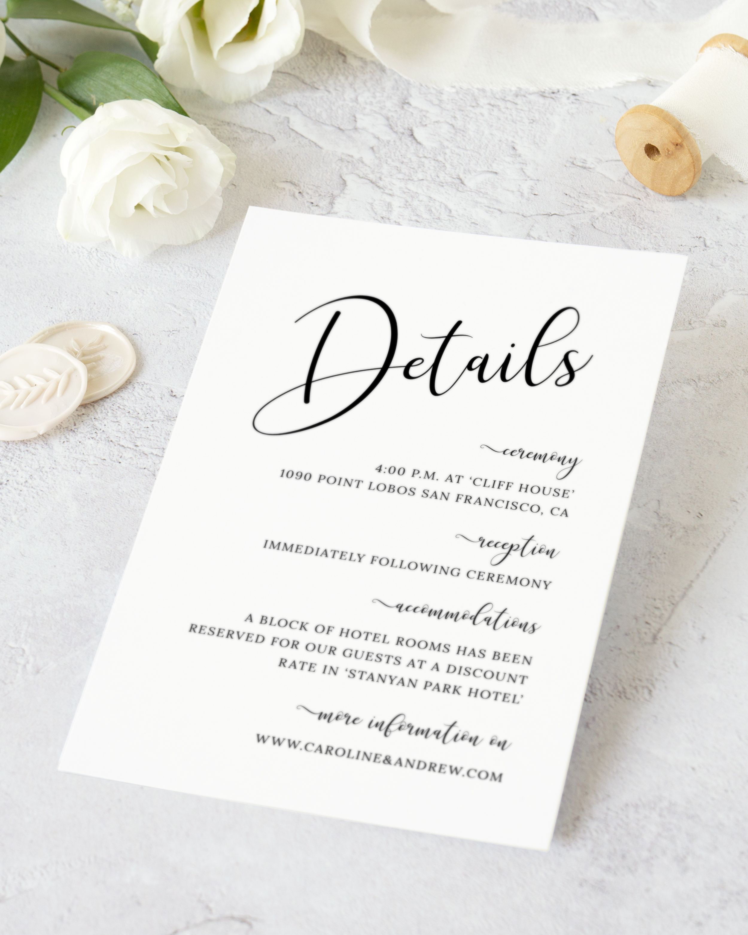 Calligraphy Wedding Details Card Template Modern Black And White Wedding Invitation Insert Diy Simple Elegant Wedding Details Card Cl19 Wedding Invitation Inserts Wedding Details Card Printable Wedding Invitations