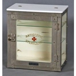 "rare early 20th century nickel plated brass ""sterilizer"" cabinet with white opalescent glass top"