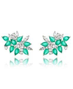 4270ef58193a9 brinco ear cuff prata com zirconias cristais e esmeraldas com banho de  rodio semi joias online