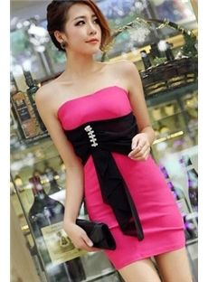 Elegant Charming Belt Shining Beads Strapless Night Club Dress