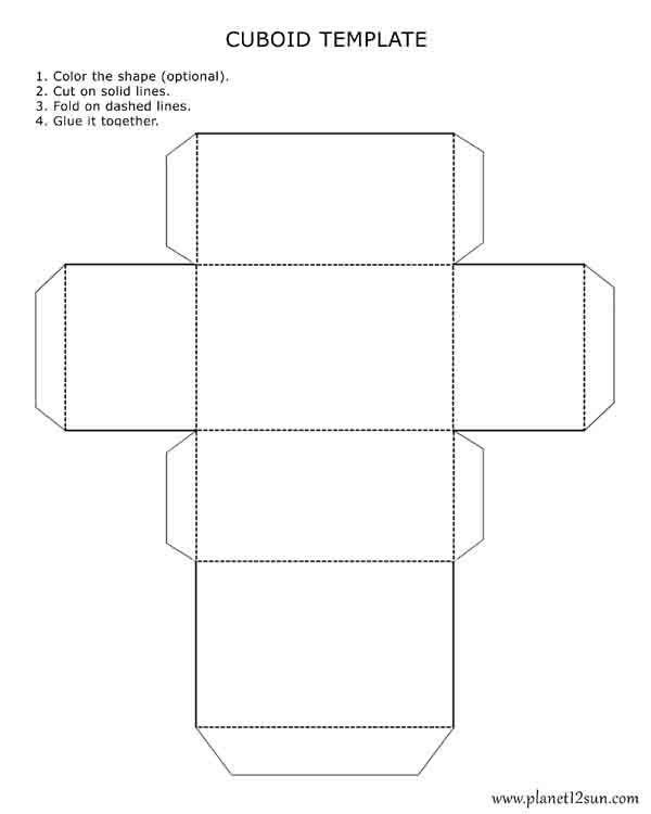 Printable, foldable 3D cuboid template. Color it, cut it out, fold ...