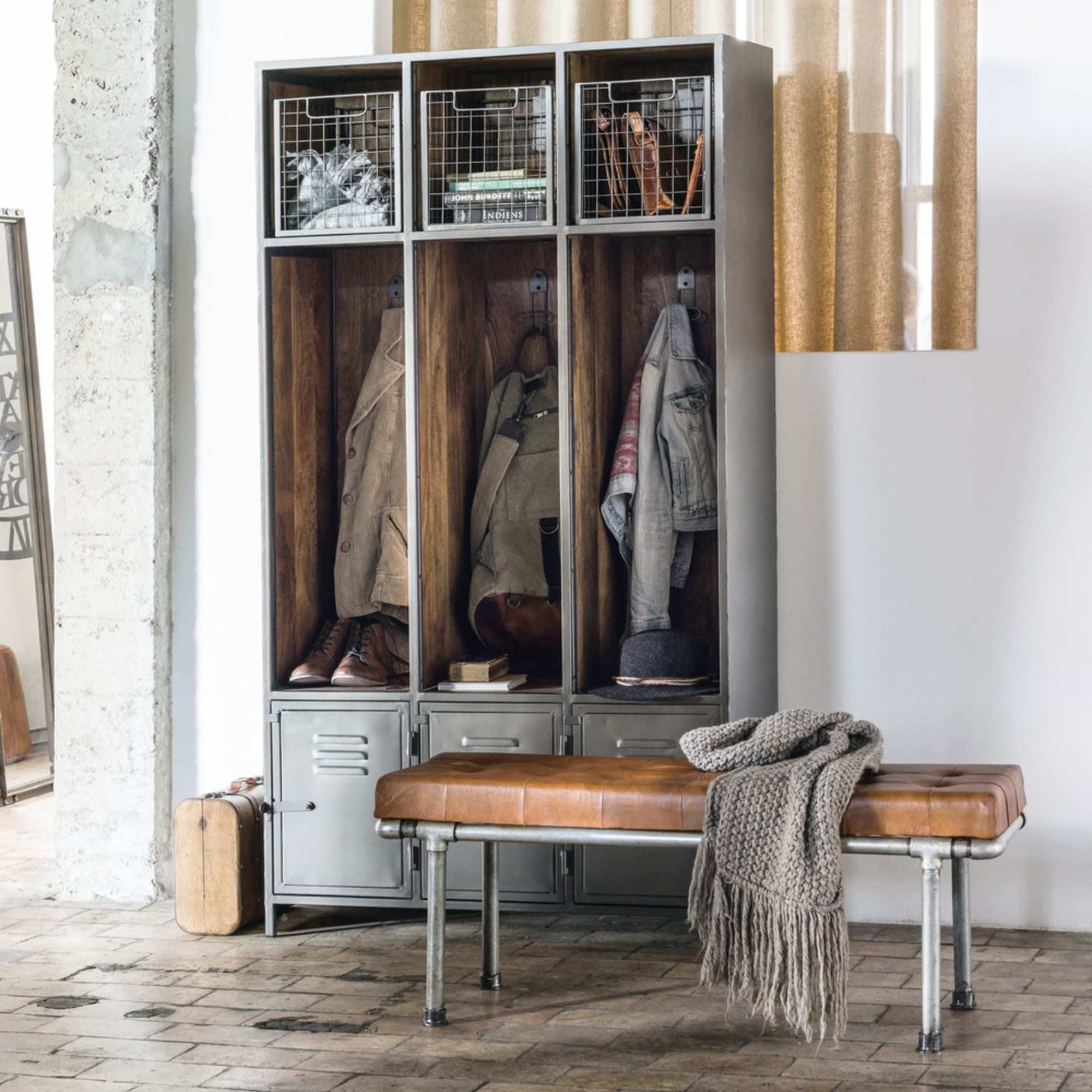 Solid Mango Wood And Grey Metal 3 Door Entryway Unit Lewis Maisons Du Monde En 2020 Meuble Entree Meuble Vestiaire Entree Meuble Entree Industriel