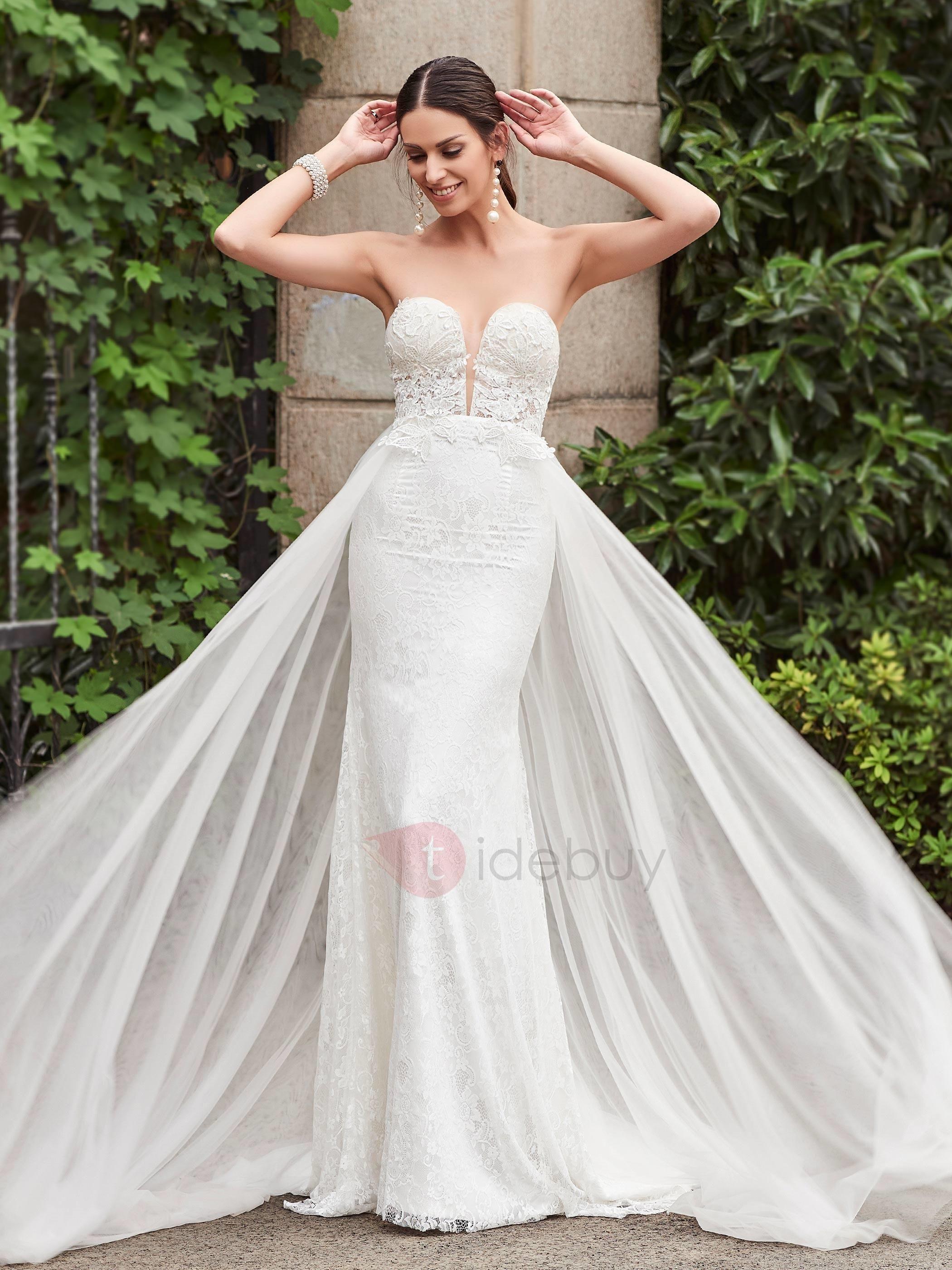 White mermaid wedding dress  Charming Sweetheart Lace Mermaid Wedding Dress  Dresses  Pinterest