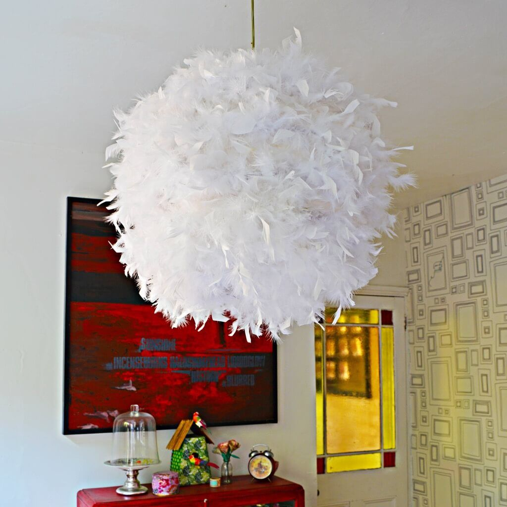 Make a glamorous feather lamp from a paper lampshade paper make a glamorous feather lamp from a paper lampshade ikea hackers aloadofball Gallery