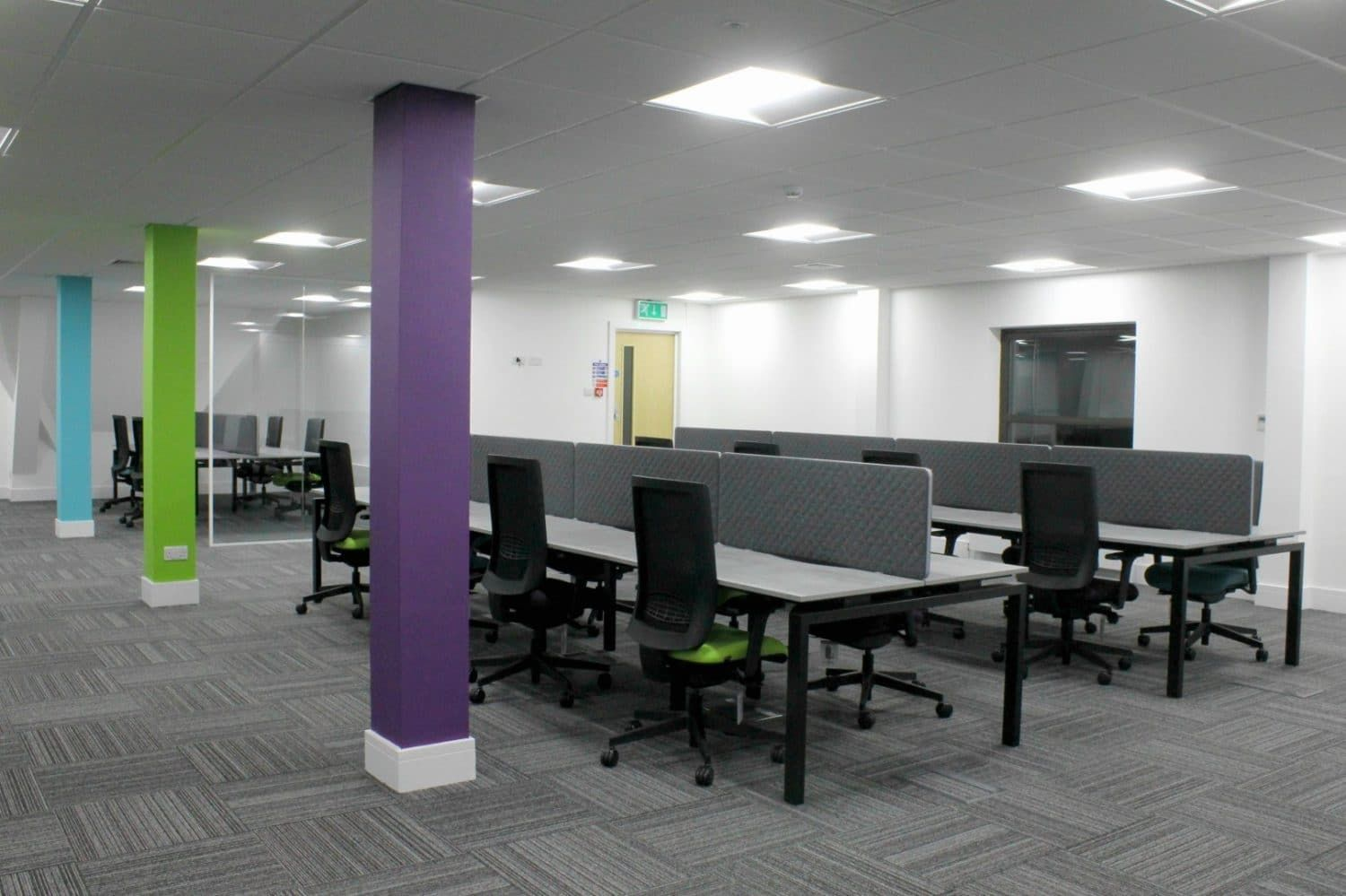 Three Workplace Pillars Painted In Purple Blue And Lime Interiordesign Officefit Office Interior Design Commercial Interior Design Interior Design Companies