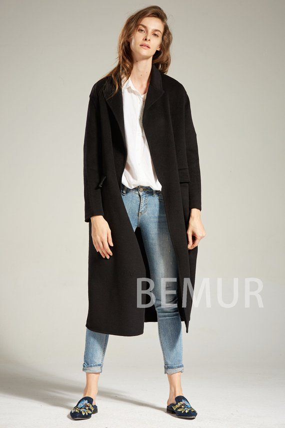 db13066cb39 women's coats with fur trim. Black Long Trench Coat Dress Women Winter Soft  Cashmere Coat Long Sleeve Vintage Wool Blend Outwear