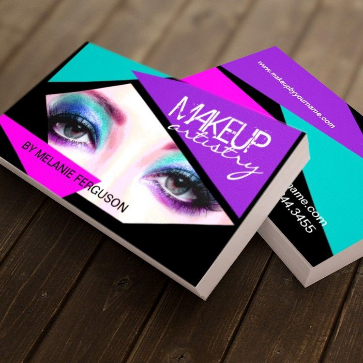 Bold makeup artist business card design created by and
