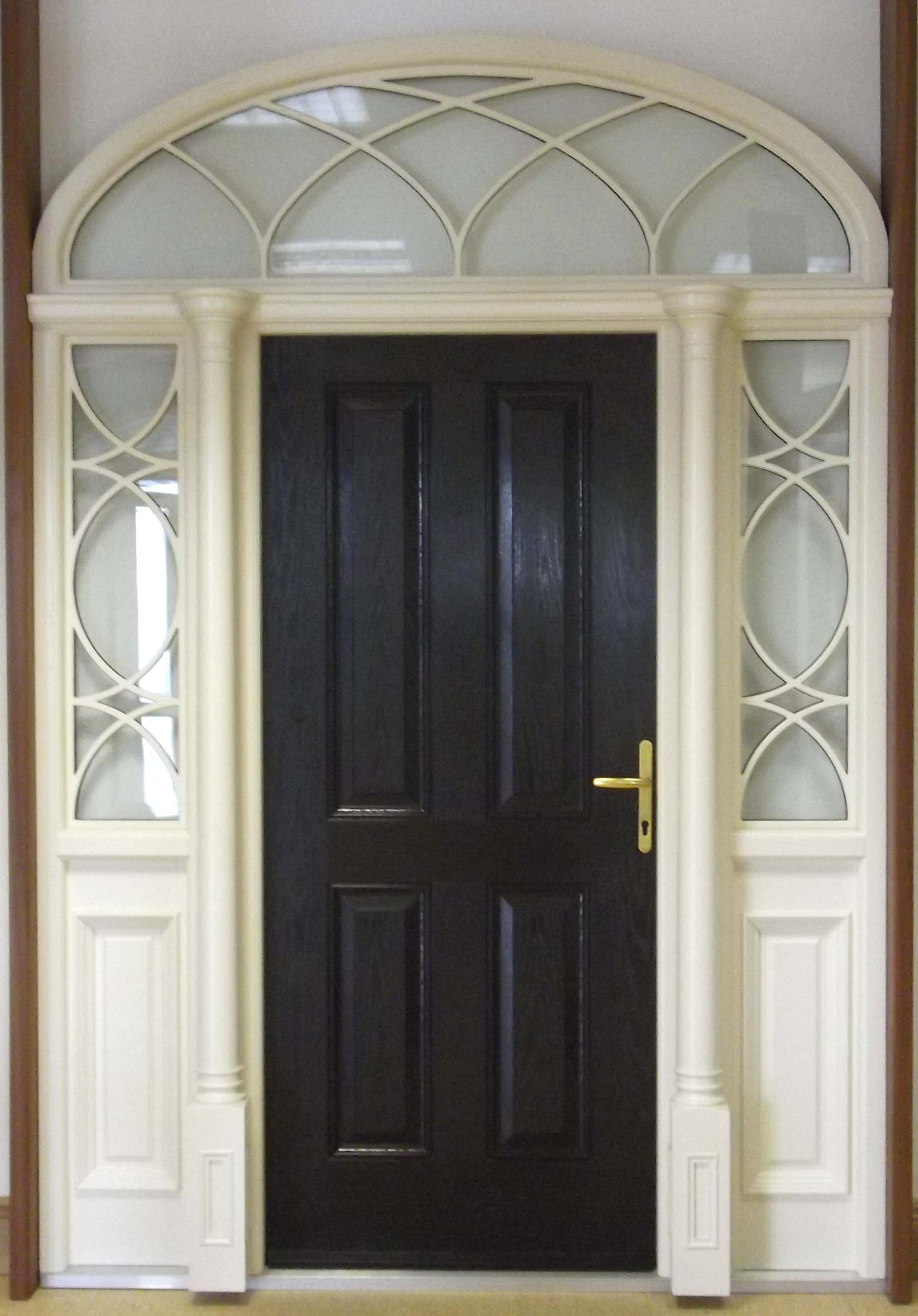 manufactured with natural hardwood the door frame features two column pillars with dentil moulding at the top of the door sash the sidelights and top fan - Door Frame Fan