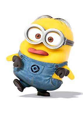 Despicable Me - John is a small two-eyed Minion with combed hair. He is the minion who acted like the boss of the working minions to make the jelly. He asks Donny and another minion to carry out the fruits. He wears a gray construction hat. When he tasted the Jelly, he broke the glass of Jelly because the taste is terrible, making every minion scream.