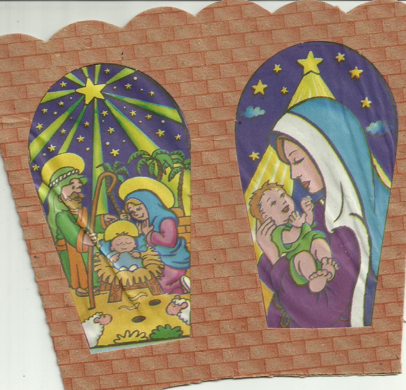El Nacimiento y la Maternidad Divina en un farol de cartón