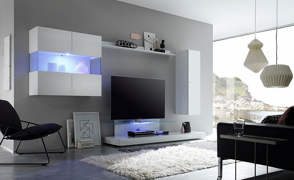 LC »Line« Wohnwand (4-tlg) Jetzt bestellen unter    moebel - wohnzimmermöbel weiß hochglanz