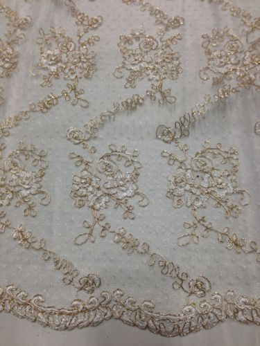 """Ivory Mesh w Metallic Coreded Floral Embroidery Bridal Lace Fabric 50"""" Wide 1 Yd 