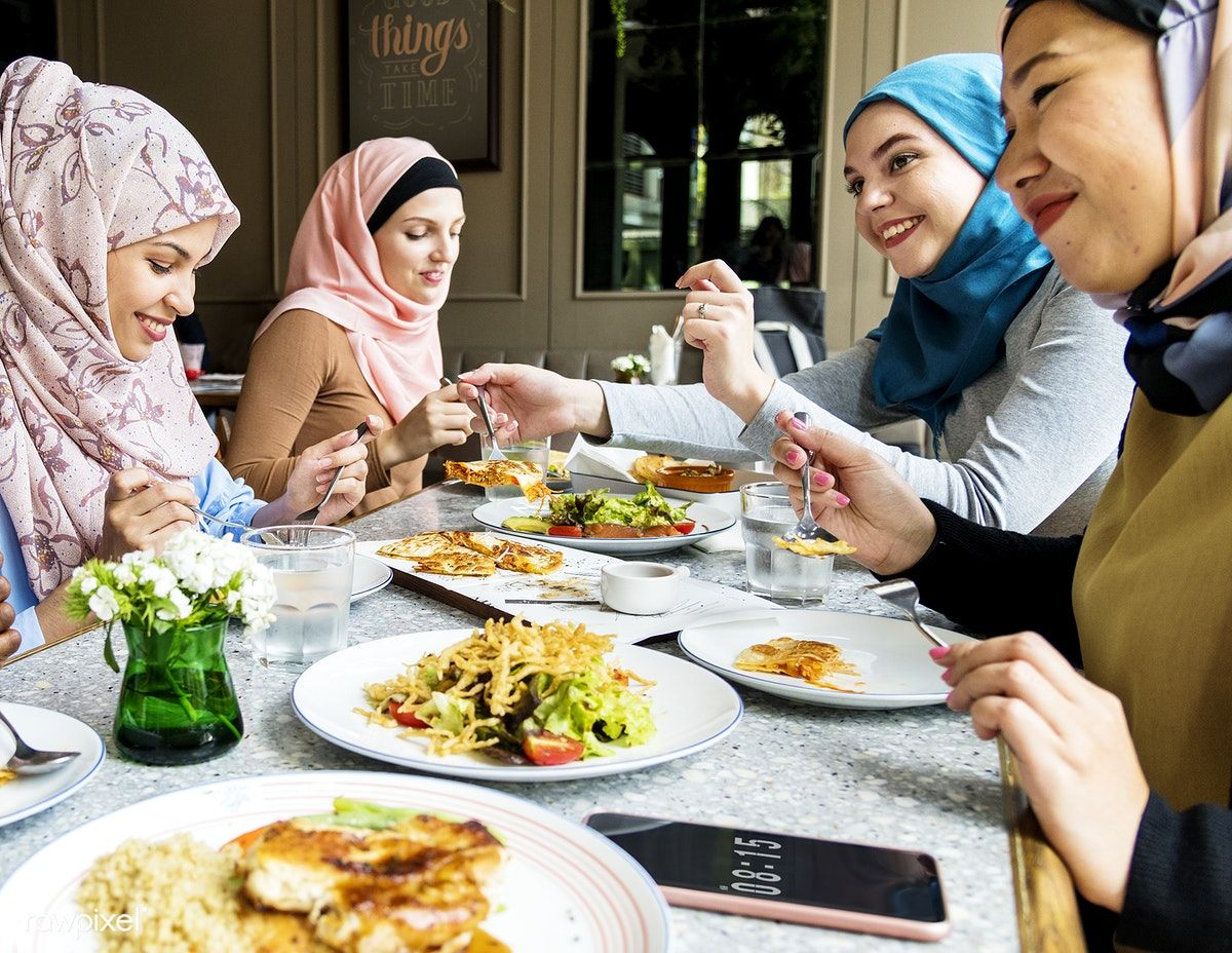 Download Premium Image Of Islamic Women Friends Dining Together With Dining Islam Women
