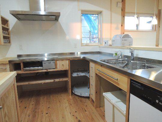 ステンレスl型キッチン L型キッチン 造作キッチン リビング キッチン