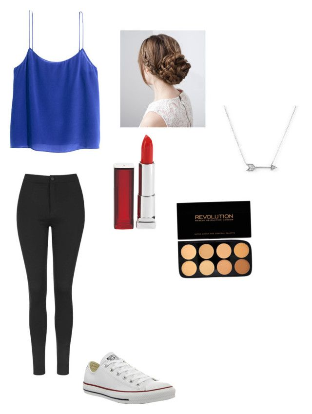 """""""Untitled #62"""" by averyvalclaunch on Polyvore featuring H&M, Topshop, Converse, Maybelline and Adina Reyter"""