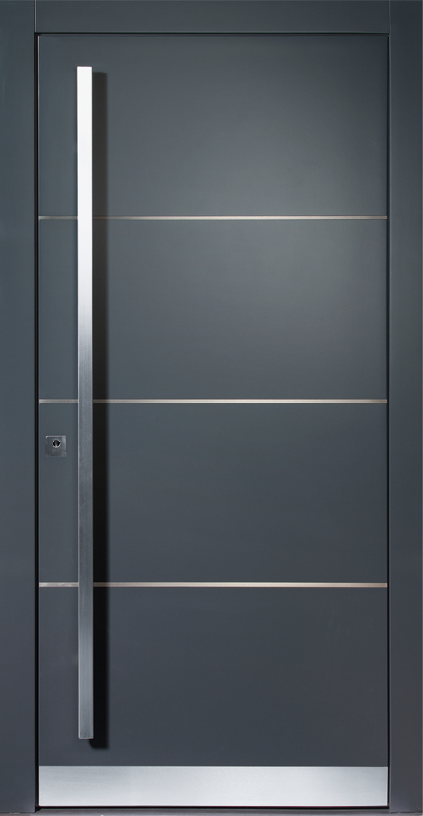 Photo of Moderne inngangsdør i aluminium – farge grå med pilasterlister i rustfritt stål