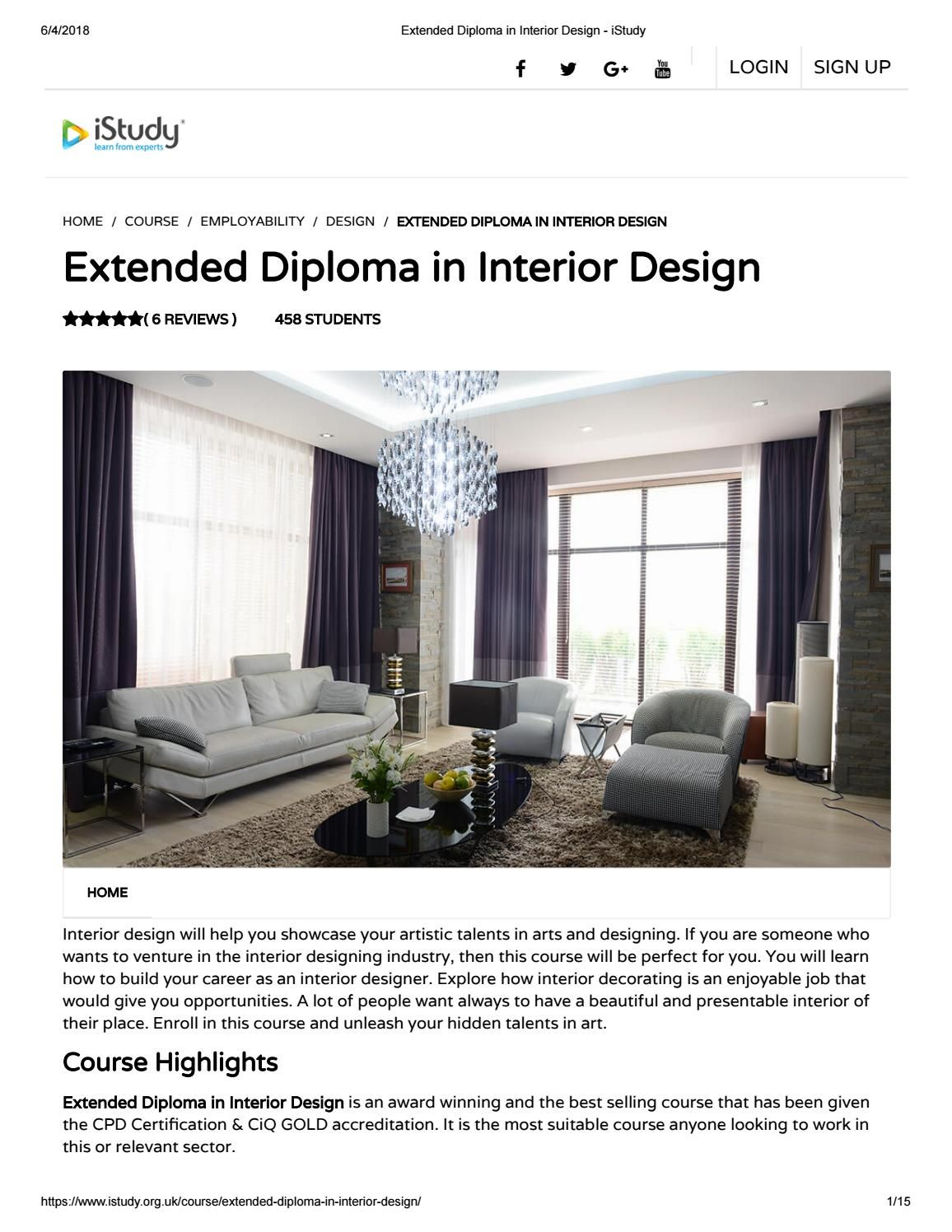 Extended Diploma In Interior Design Istudy With Images