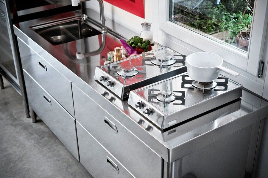 """Linear stainless steel kitchen CUCINA 190 """"BLOW UP"""" - ALPES-INOX ..."""